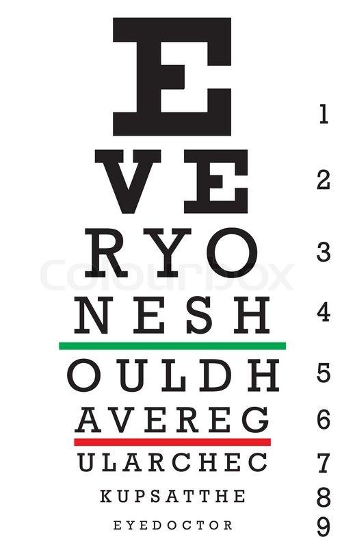 An Eye Chart With A Hidden Message Stock Vector