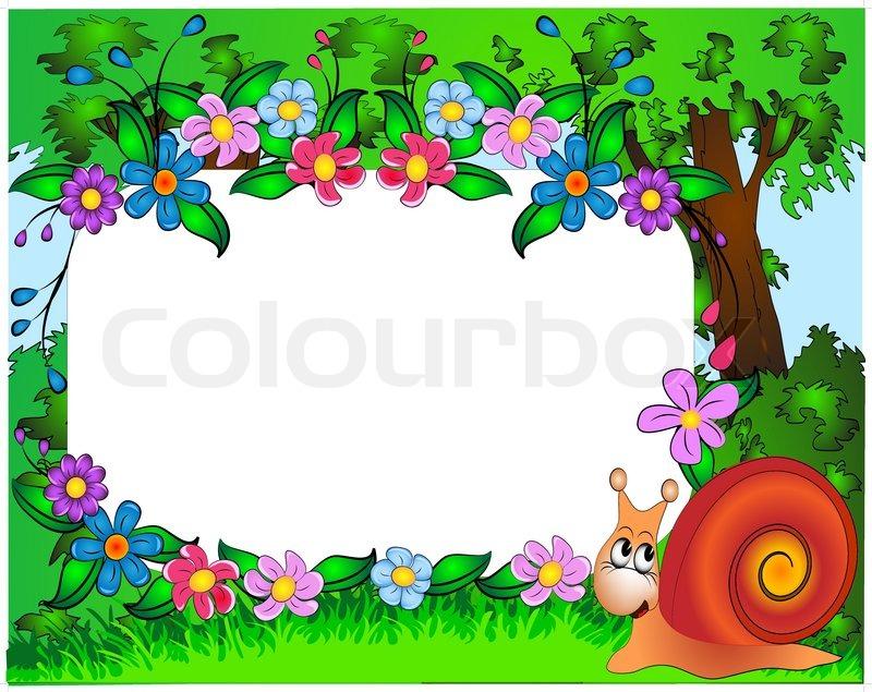 Illustration für Foto Kindergarten Schnecke und Blumen ...