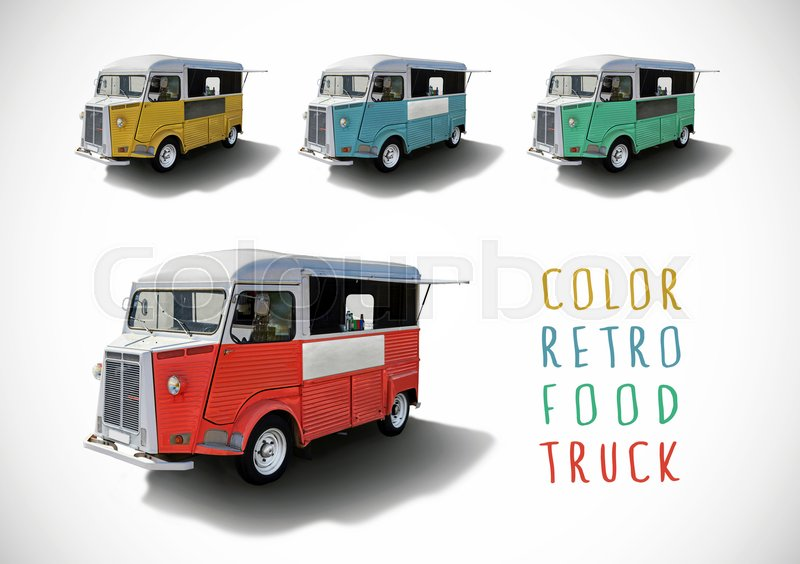 Set of color retro food trucks with cutting path, stock photo