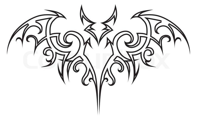 vector tattoo tribal fledermaus  vektorgrafik  colourbox