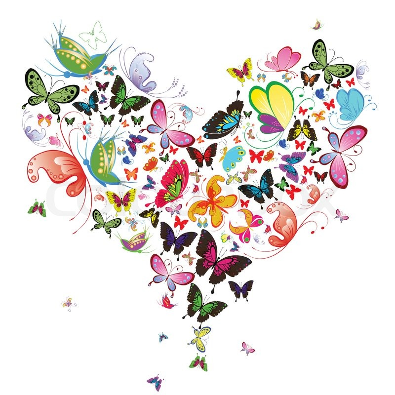 Abstract Heart Butterfly Vector Art Icon Insect Concept Natural Graphic Vector Illustration