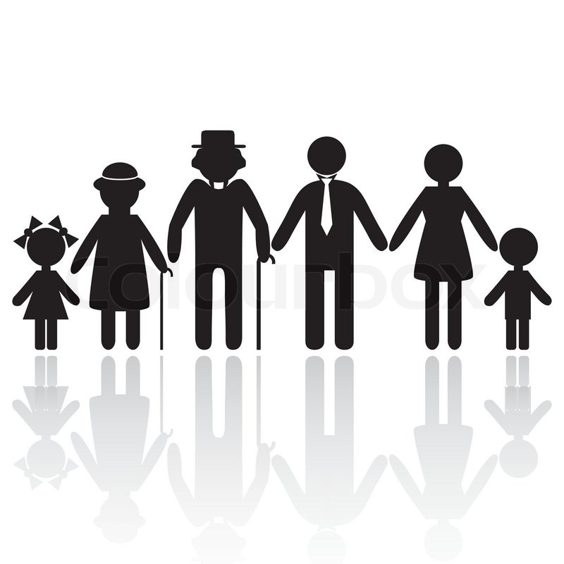 people silhouette family icon person vector woman old