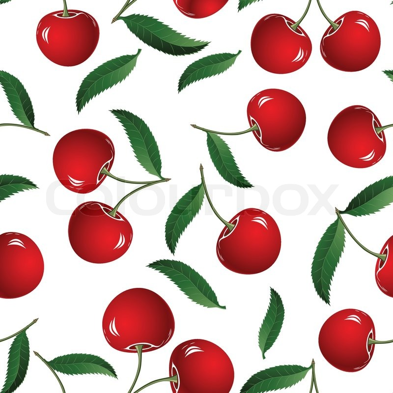 Vector Fruit Icon Seamless Cherry Background Fabric Pattern Tile Illustration