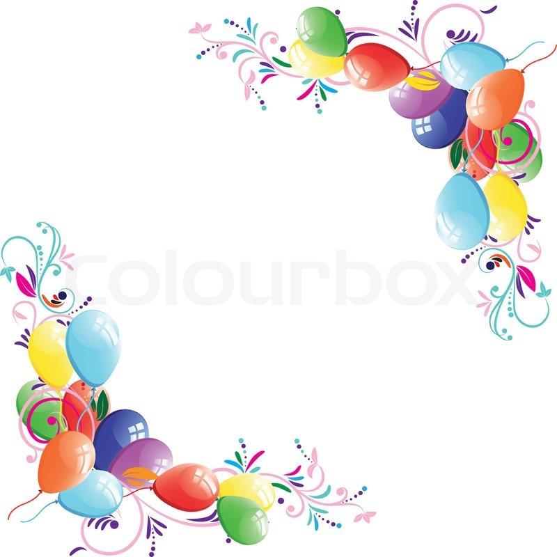 Stock vektor von floral ballon hintergrund geburtstag rahmen design