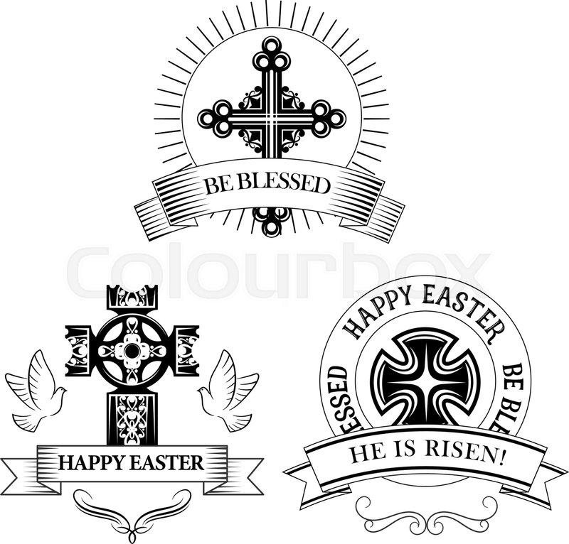 Easter Symbols Of Cross And Paschal Text He Is Risen Be Blessed For