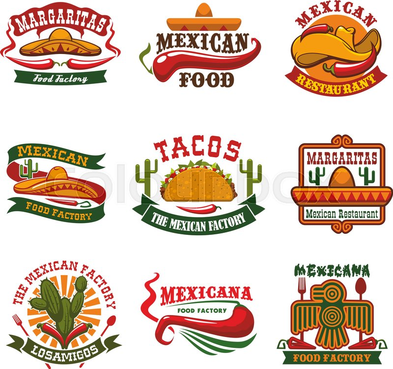 Mexican Cuisine Restaurant And Fast Food Cafe Emblem Set Taco With