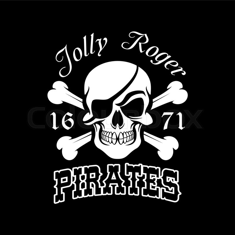 Pirate Skull And Crossbones Symbol Jolly Roger With Eye Patch For