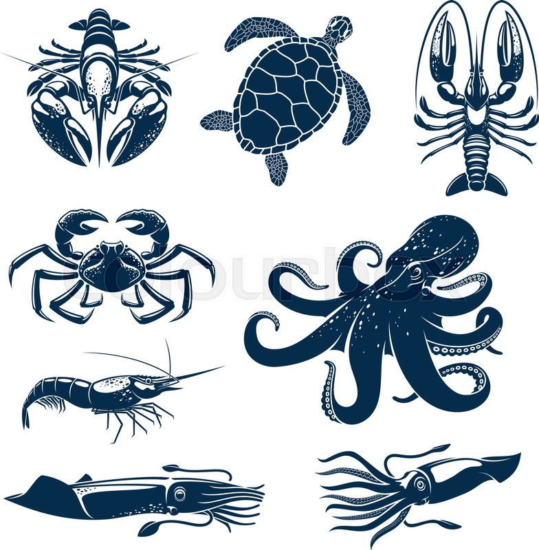 Seafood marine animal icon set octopus crab shrimp for Animals that are included in the cuisine of seafood