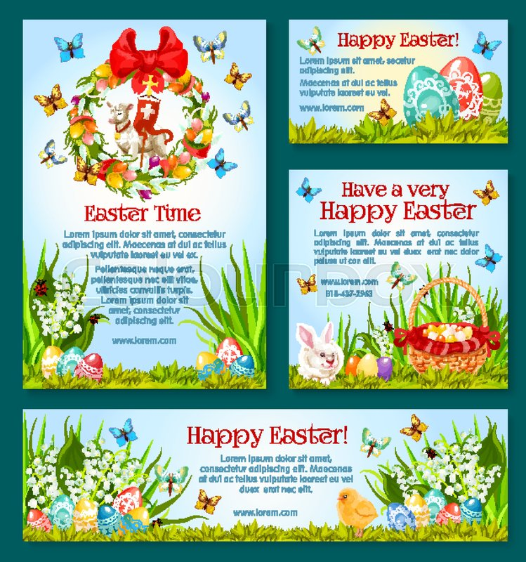Easter holiday greetings banner template easter egg hunt easter holiday greetings banner template easter egg hunt celebration poster card and flyer with easter egg rabbit bunny spring flower wreath basket m4hsunfo