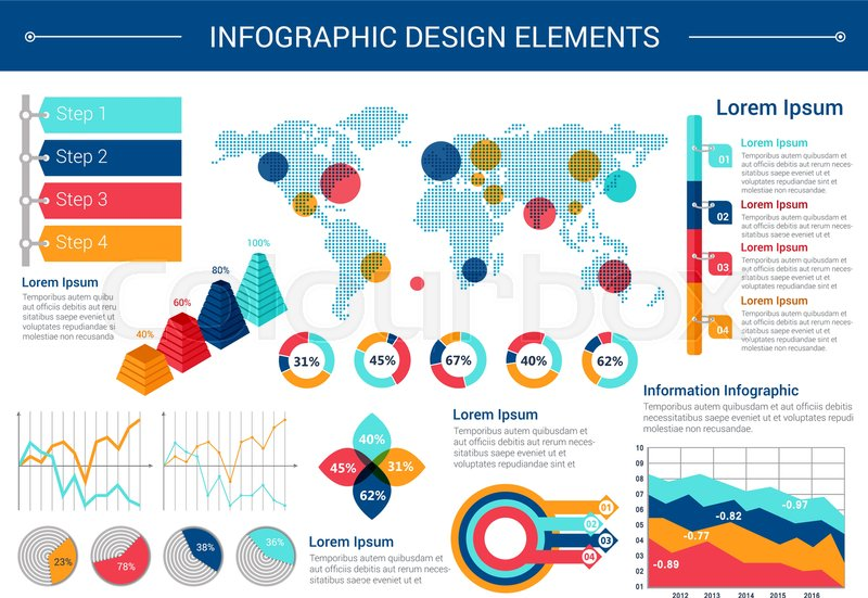 Infographic elements design world map with pointers pie chart infographic elements design world map with pointers pie chart line graph step diagram with option tags stacked pyramid chart with percent visualization gumiabroncs