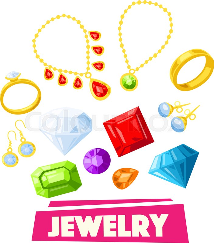 jewelry and precious gemstone cartoon poster gold necklace ring
