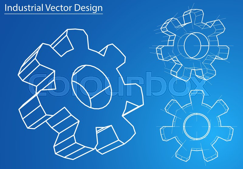 Design and manufacture of gears wire frame style perspective design and manufacture of gears wire frame style perspective blueprint 3d rendering vector illustration eps10 format vector malvernweather Image collections