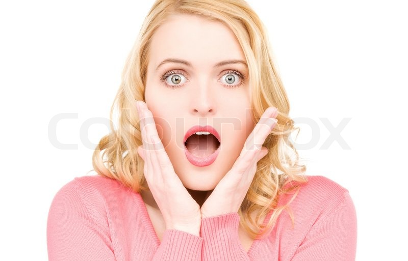 Helles Bild der Frau überrascht Gesicht über weißem ...