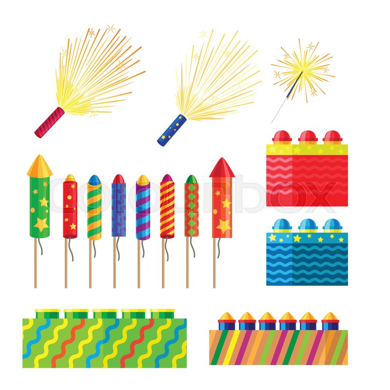stock vector of collection of fireworks new year decorations illustration of different pyrotechnics