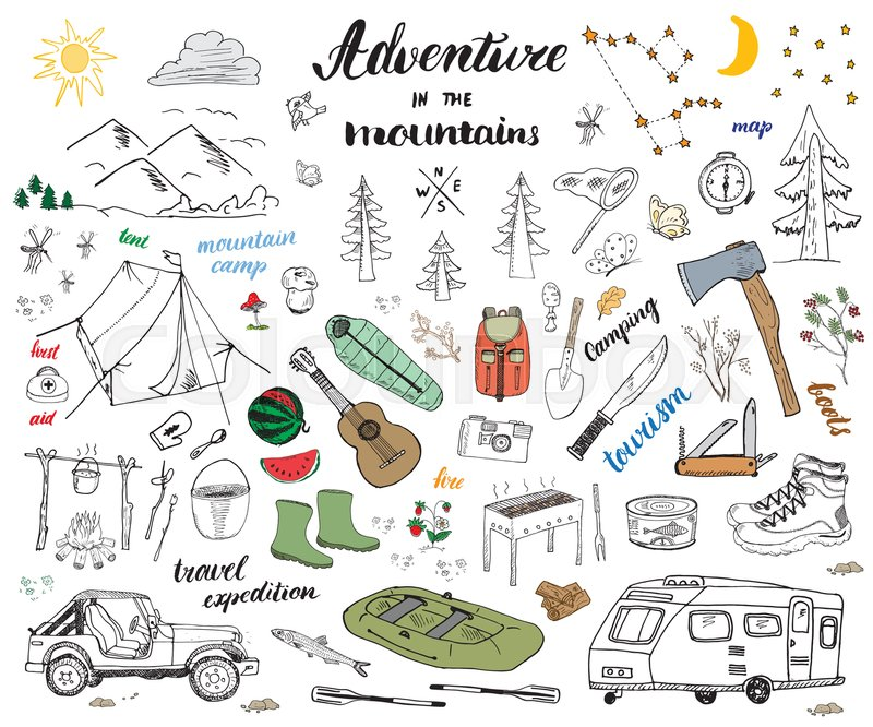 C&ing Hiking Hand Drawn sketch doodle set vector illustration with mountains tent raft grill and c&fire axe and knife pine trees tourist food ...  sc 1 st  Colourbox : tent doodle - memphite.com