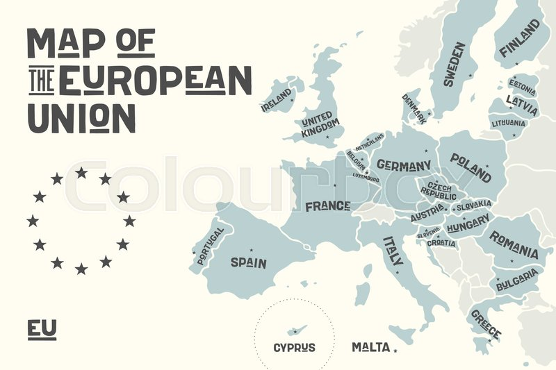 Poster Map Of The European Union With Country Names And Capitals - Europe map with country names and capitals
