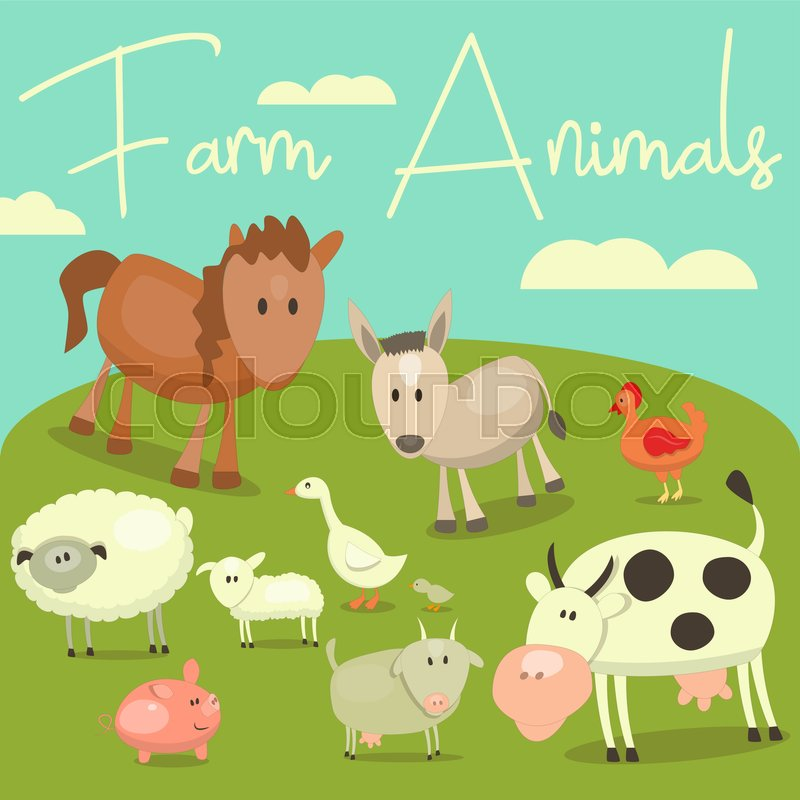 Cartoon Cute Farm Animals And Birds Set Vector Illustration