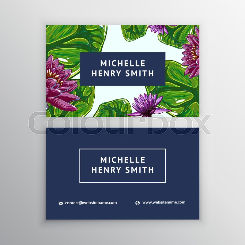 Business card with lotus, lily flowers. Business floral card ...