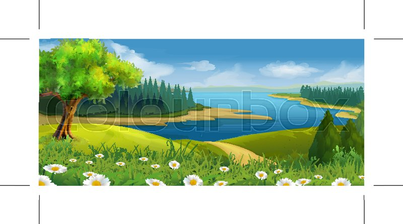 Nature landscape, stream valley, vector background, vector