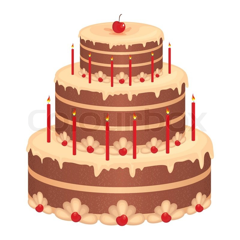 Cake Pictures Vector : Birthday cake Stock Vector Colourbox
