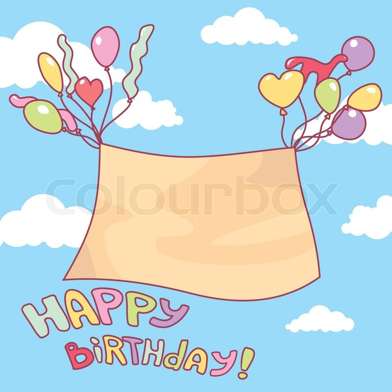 Cute Birthday Card With Free Place For Your Text Stock Vector