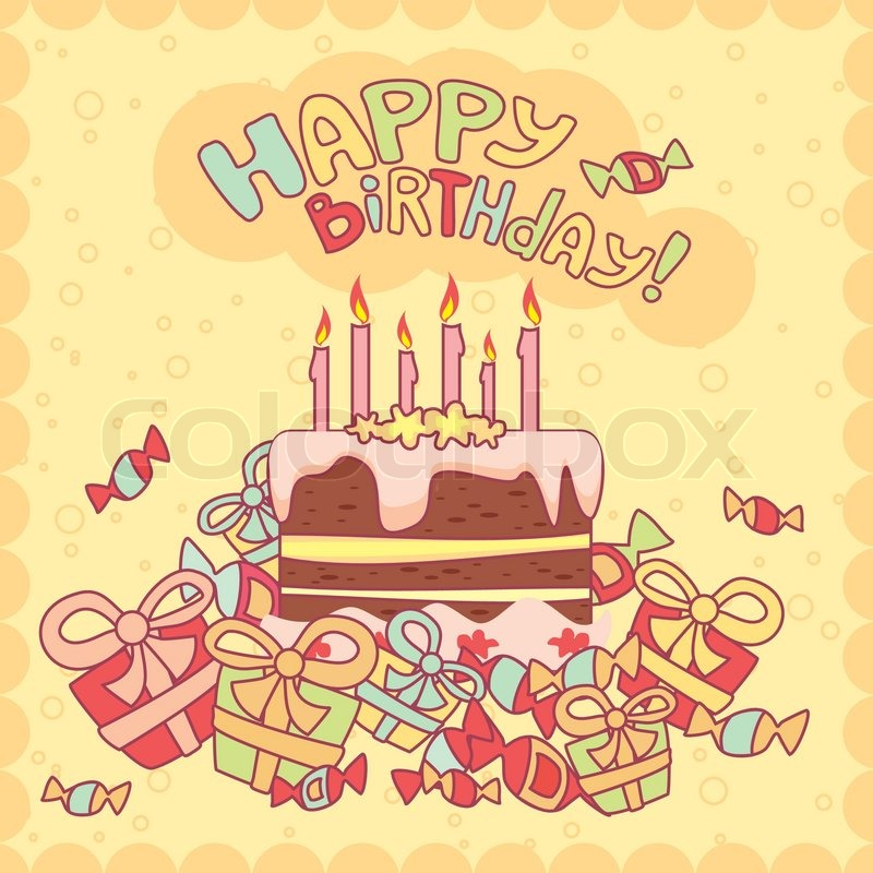Happy Birthday Card With Cake Candles And Gifts Stock Vector