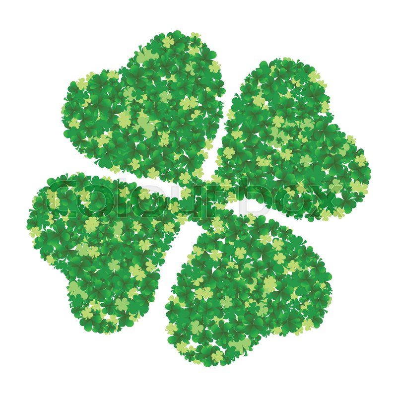 Green Four Leaf Clover Made From Little C Isolated On White Background Vector Ilration