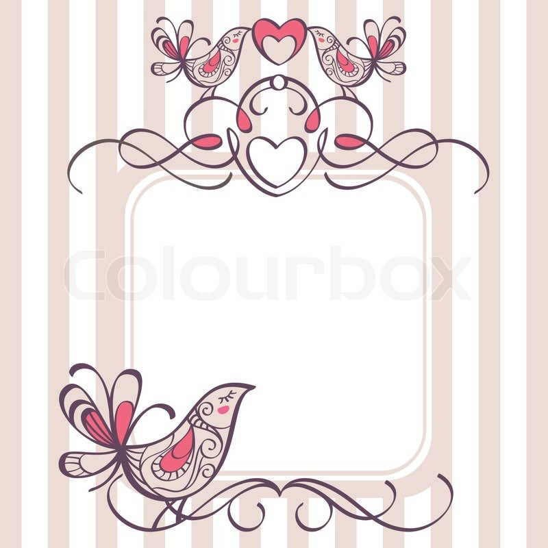 Stock vektor af 'bryllup ramme med søde fugle'