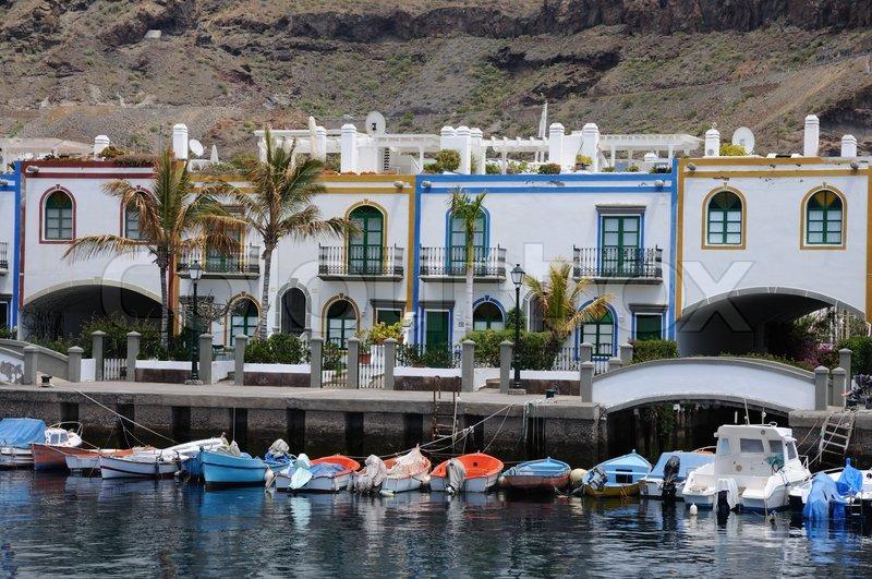 Puerto de mogan grand canary island spain stock photo colourbox - Taxi puerto rico gran canaria ...