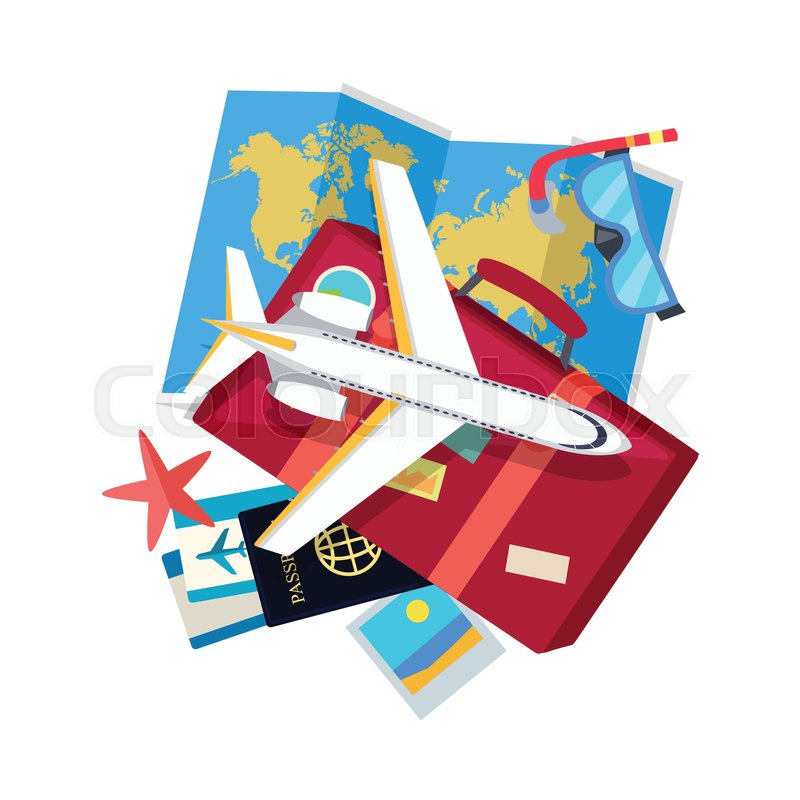 Vacation web banner aircraft suitcase with luggage world map stock vector of vacation web banner aircraft suitcase with luggage world map gumiabroncs Choice Image