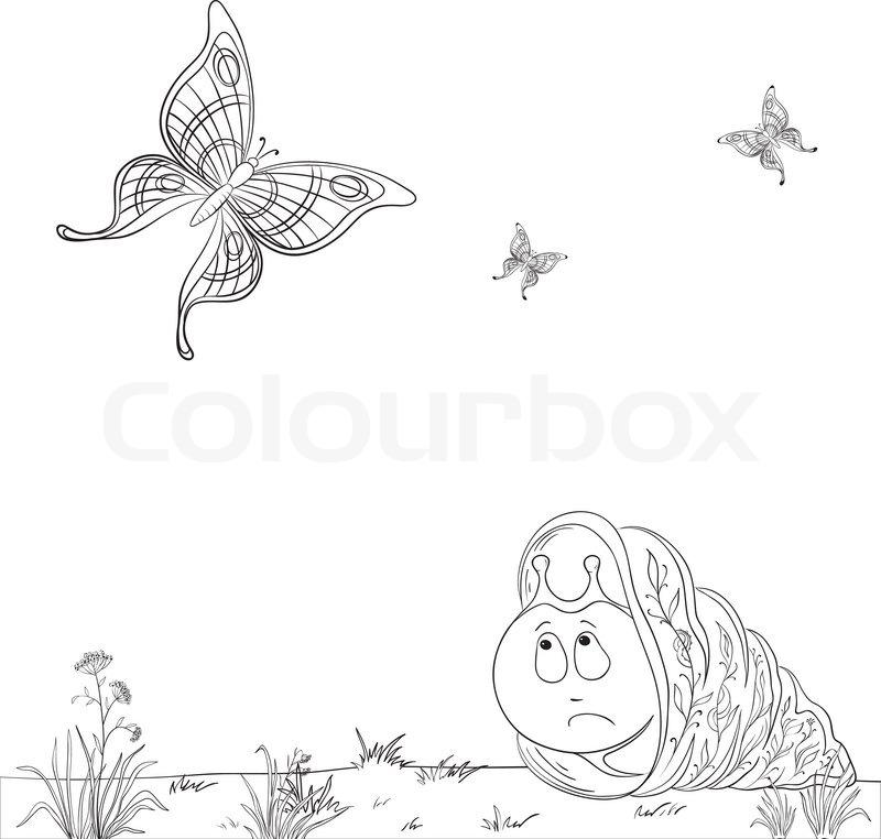 Vector cartoon , traurig Schnecke auf einer Sommerwiese schaut ...