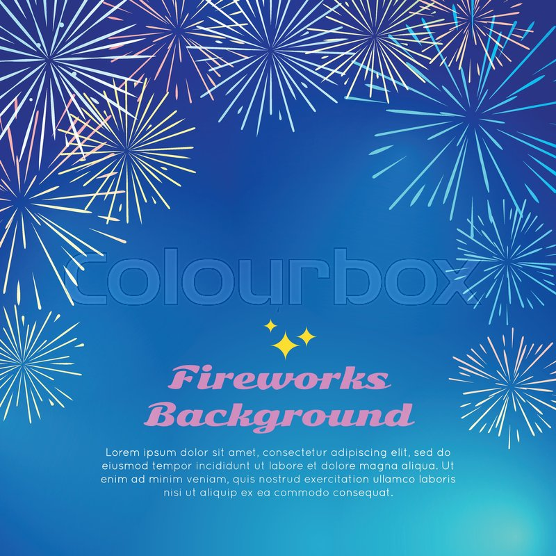 fireworks backgroundwith colorful fireworks top frame on blue happy holidays postcard with salute elements greeting new year banner card with