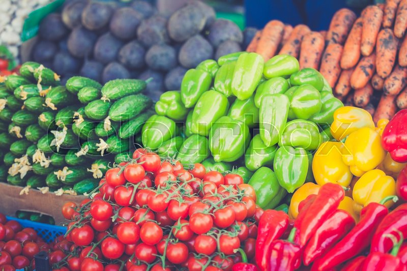 Farmers market. vegetable Market. Different raw vegetables background.Healthy eating, stock photo