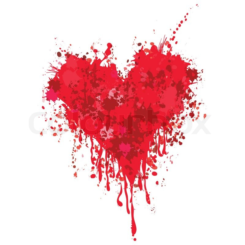 red grunge heart vector ink blood paint drip love