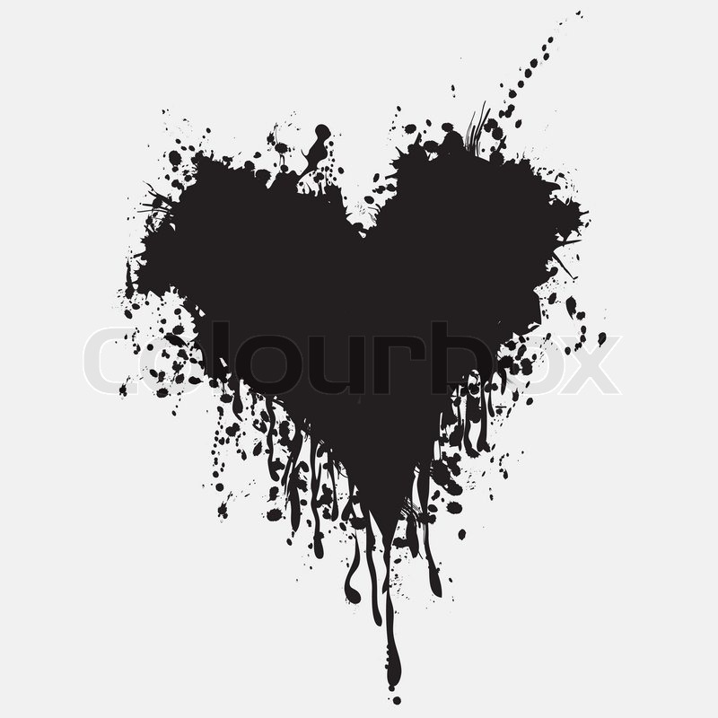 Graphic grunge heart, ink splatter vector. Paint splat ...