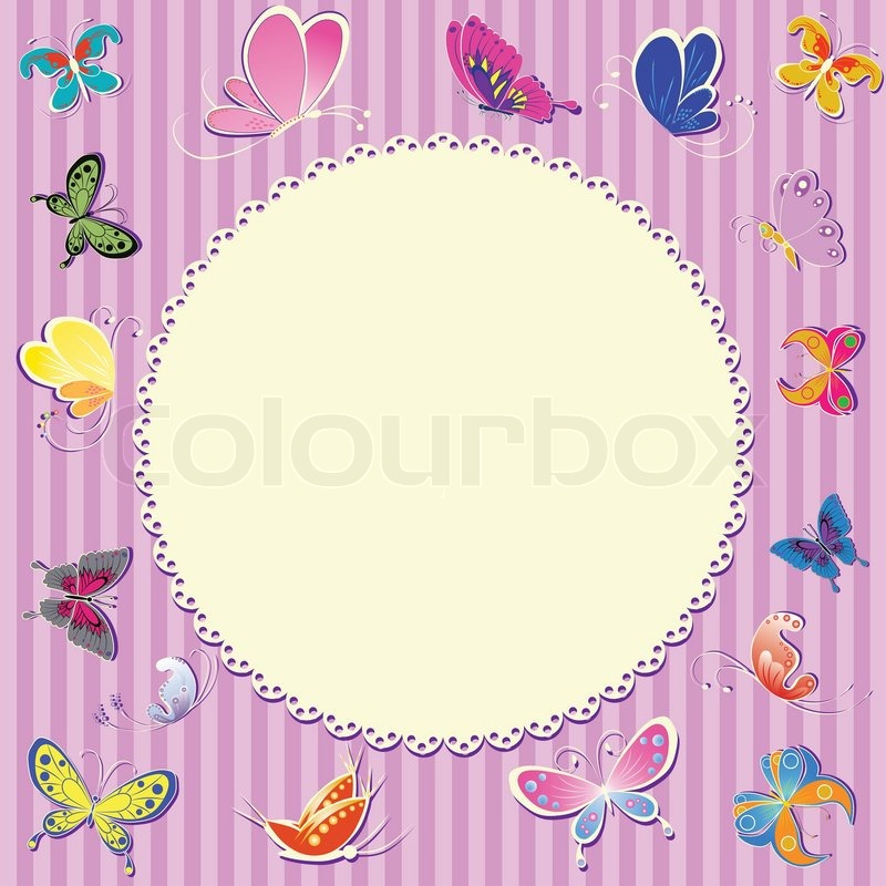 Unisex retro frame greeting sticker butterfly vector card ...