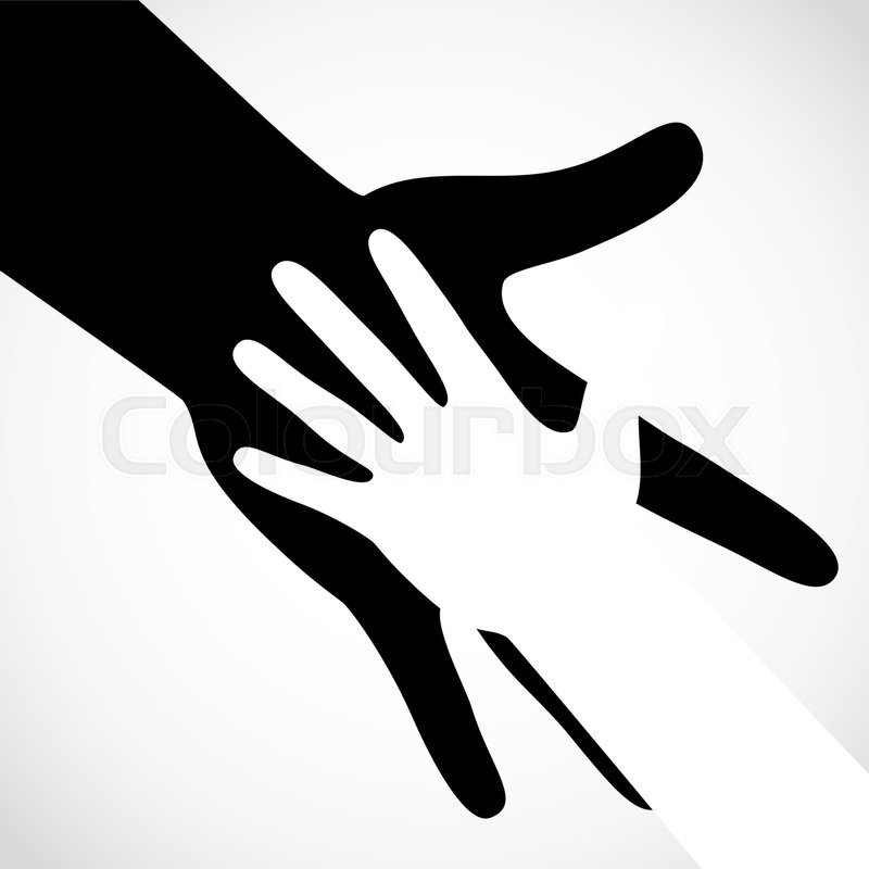 black color big hand and white small hand vector concept help