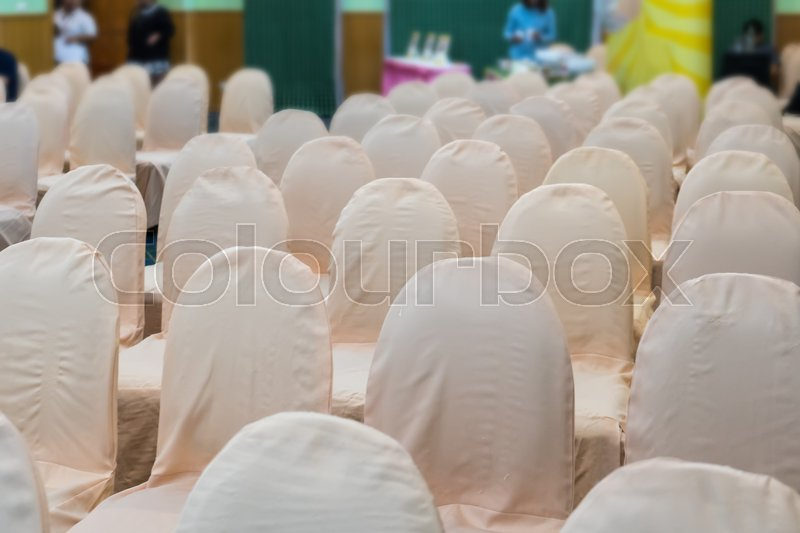 Empty business seminar hall of hotel room for asia people listen presentation,selective focus. , stock photo