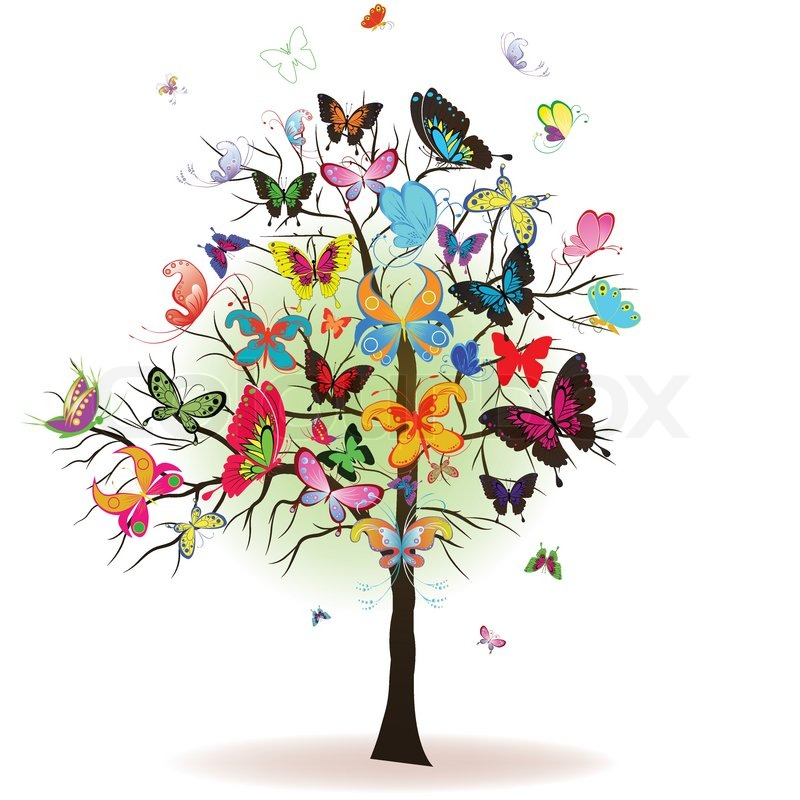 floral tree with butterfly element stock vector. Black Bedroom Furniture Sets. Home Design Ideas