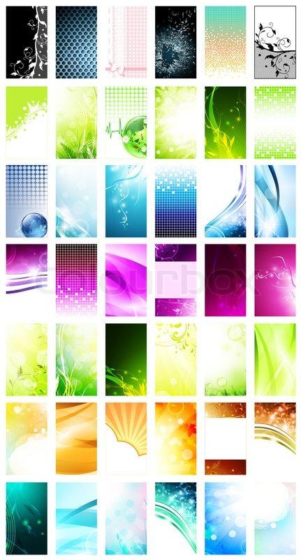 Vielzahl von 42 vertikalen visitenkarten vorlagen stockfoto colourbox - Visitenkarten gratis vorlagen ...