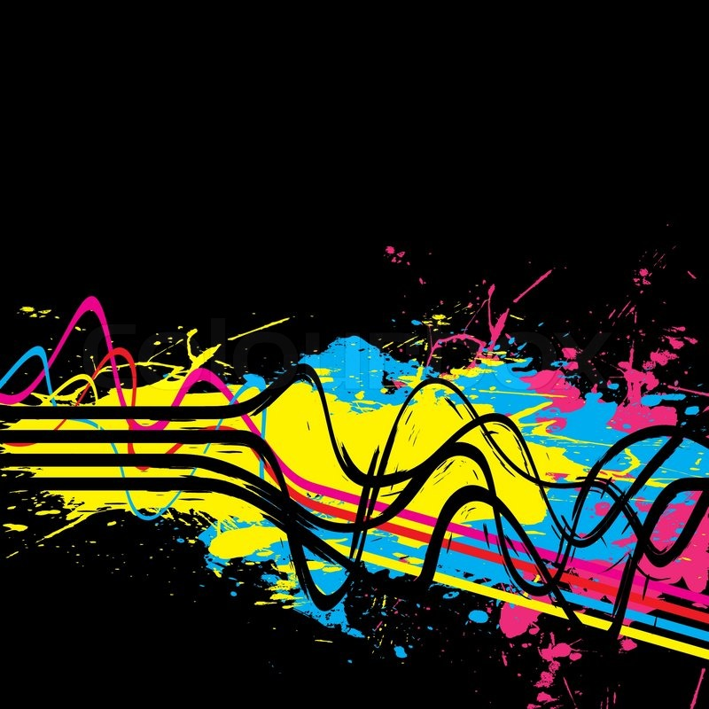 abstract layout with wavy lines in a cmyk color schemethis