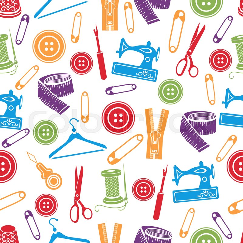 Sewing Tools Seamless Pattern Vector Stock Vector
