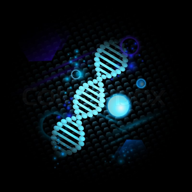 Dna Model Wallpaper: Science Theme With DNA Over Abstract Dark Background
