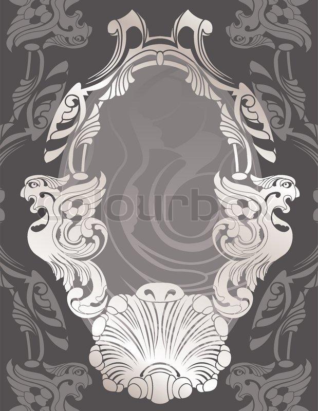 Phoenix Schablone und dekorativer Rahmen | Vektorgrafik | Colourbox