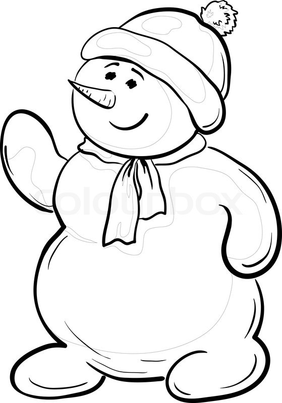 vector cartoon  snowmen boy in a cap and scarf  contours