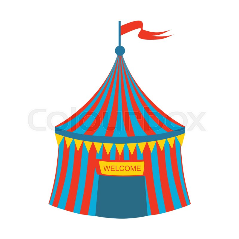 Blue And Red Stripy Circus Tent Part Of Amusement Park And Fair Series Of Flat Cartoon Illustrations. Isolated Object Related To Theme Park Entertainment ...  sc 1 st  Colourbox & Blue And Red Stripy Circus Tent Part Of Amusement Park And Fair ...