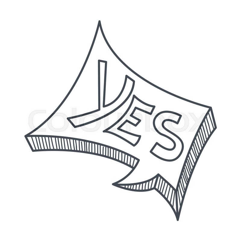 word yes hand drawn comic speech bubble template isolated black