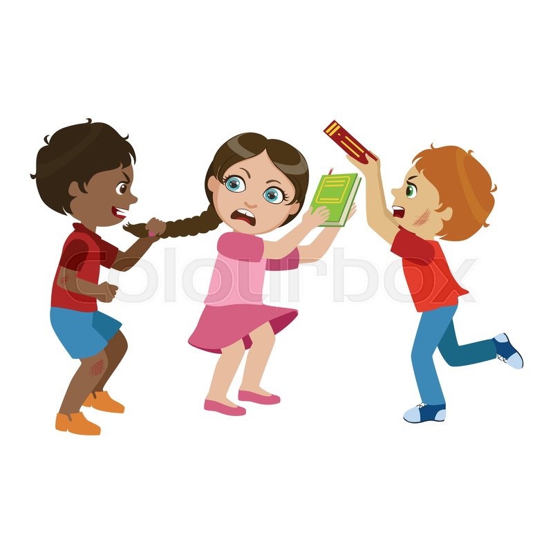 Two Boys Bullying A Girl, Part Of Bad   Stock Vector -4443