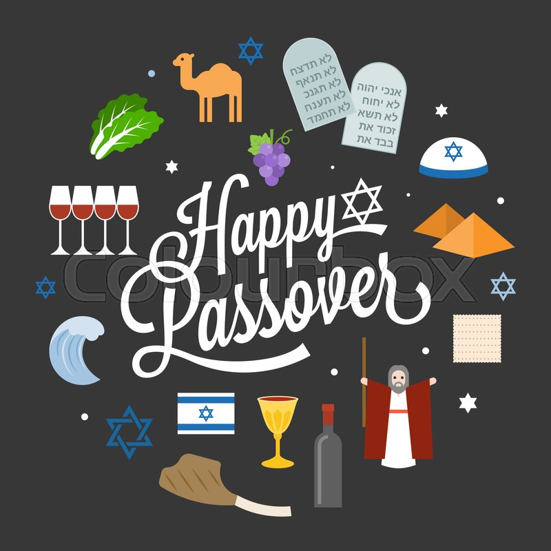 happy passover poster pictogram with moses, pyramid, typographic
