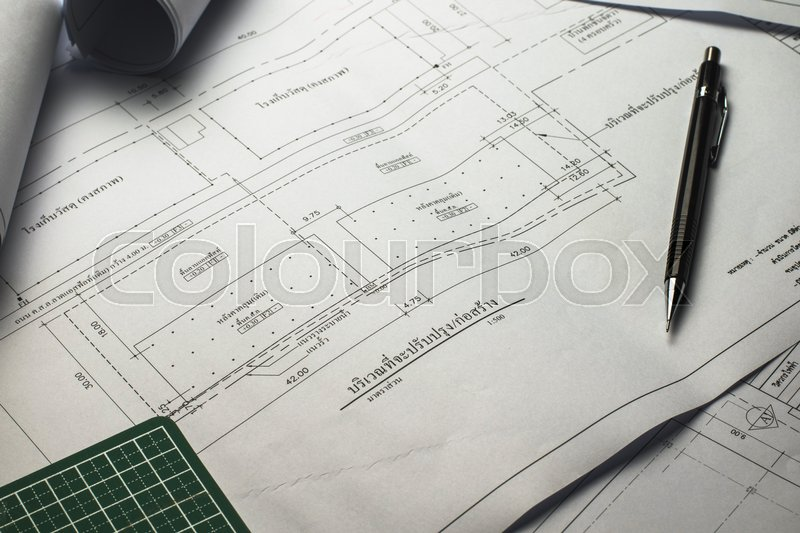 Engineering diagram blueprint paper drafting project sketch architectural,selective focus, stock photo